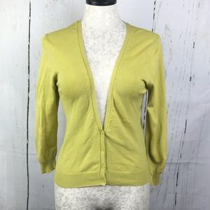 Zara TRF Chartreuse Cardigan Sweater